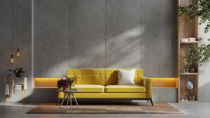 Sofa-modern-zolta-stolik-z-drewna
